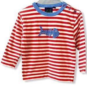 Mini Boden | Breton Stripe Fish Shirt (18-24 mos)